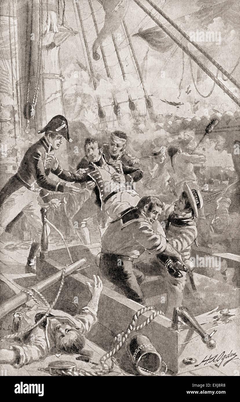 """Il capitano James Lawrence pronunciando le sue ultime parole o 'dying il comando"""" """"Non mollare la nave!"""" dopo essere stato ferito a morte mentre comandando la USS Chesapeake in una sola nave azione contro il sistema HMS Shannon comandato da Filippo si è rotto durante la guerra del 1812. James Lawrence, 1781 - 1813. American naval officer. . Foto Stock"""