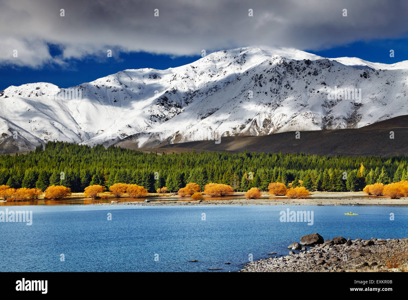 Paesaggio di Montagna, Lago Tekapo, Nuova Zelanda Immagini Stock