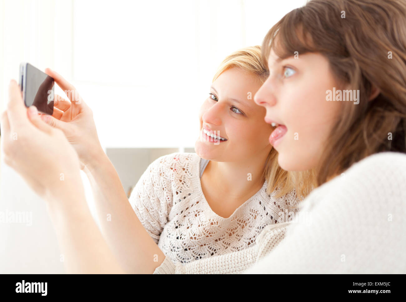 Vista di ragazze sul divano tenendo selfie foto con lo smartphone Immagini Stock