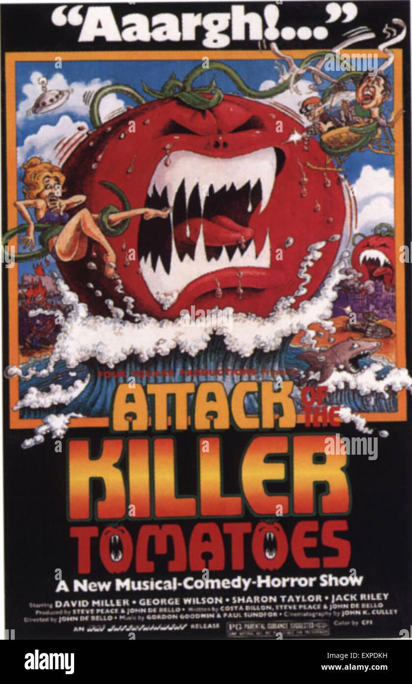 Anni Settanta usa l'attacco dei pomodori Killer Film Poster Immagini Stock