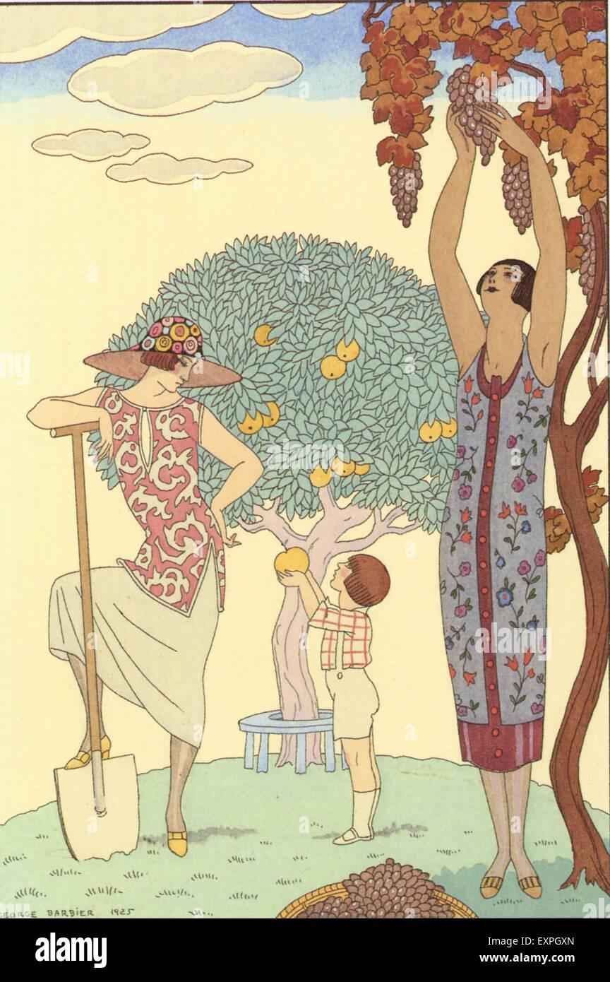 1920s Francia George Barbier piastra del magazzino Immagini Stock