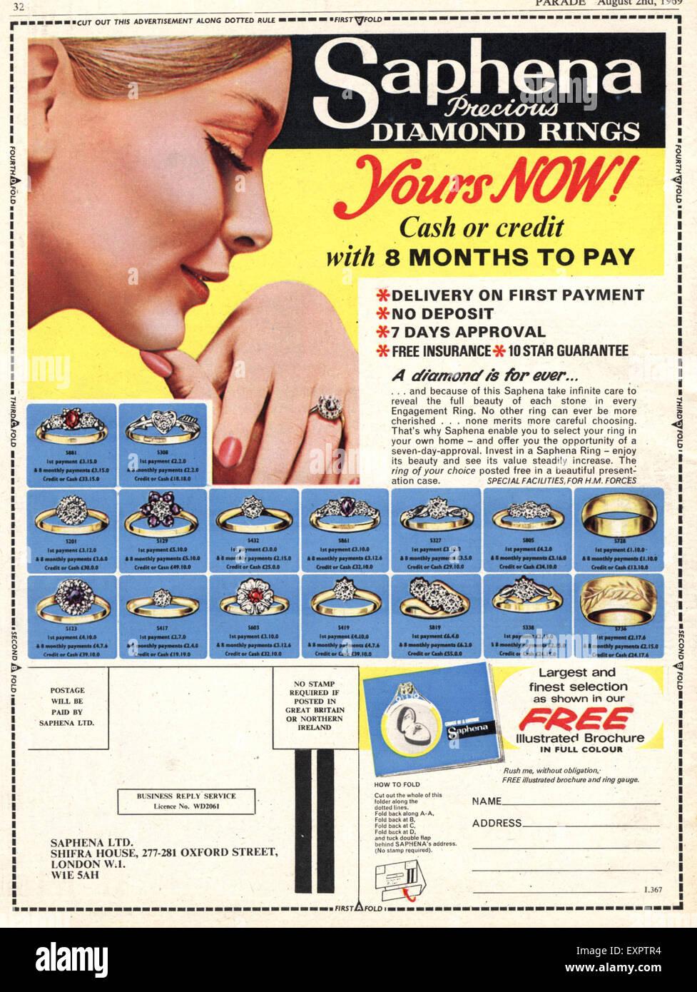 1960S UK safena Diamond anelli di fidanzamento Magazine annuncio pubblicitario Immagini Stock