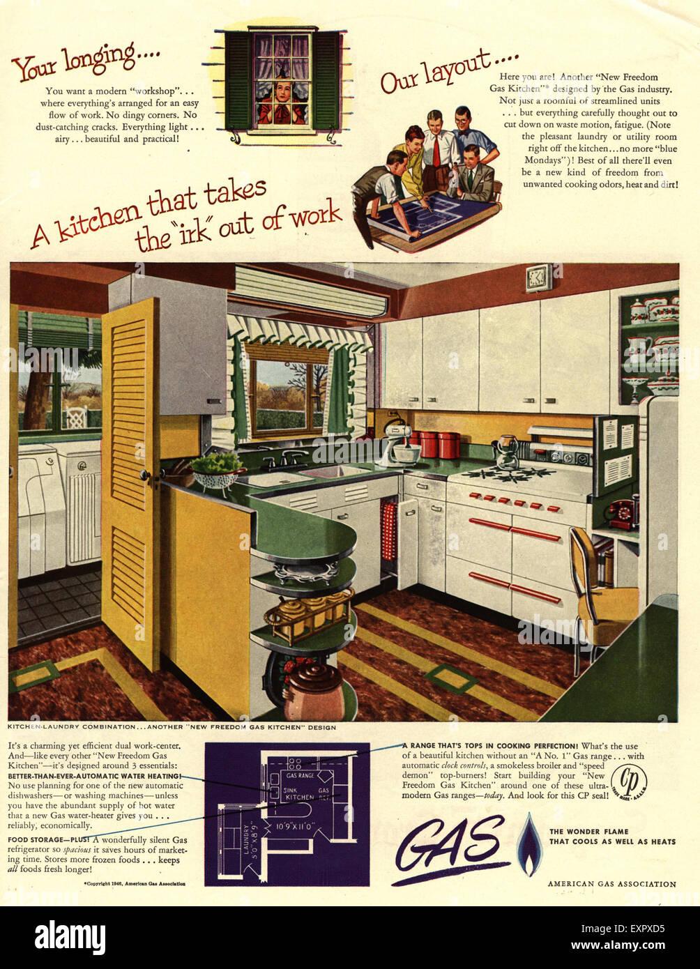 Stock Cucine Componibili.1940s Usa Cucine Componibili Magazine Annuncio Pubblicitario