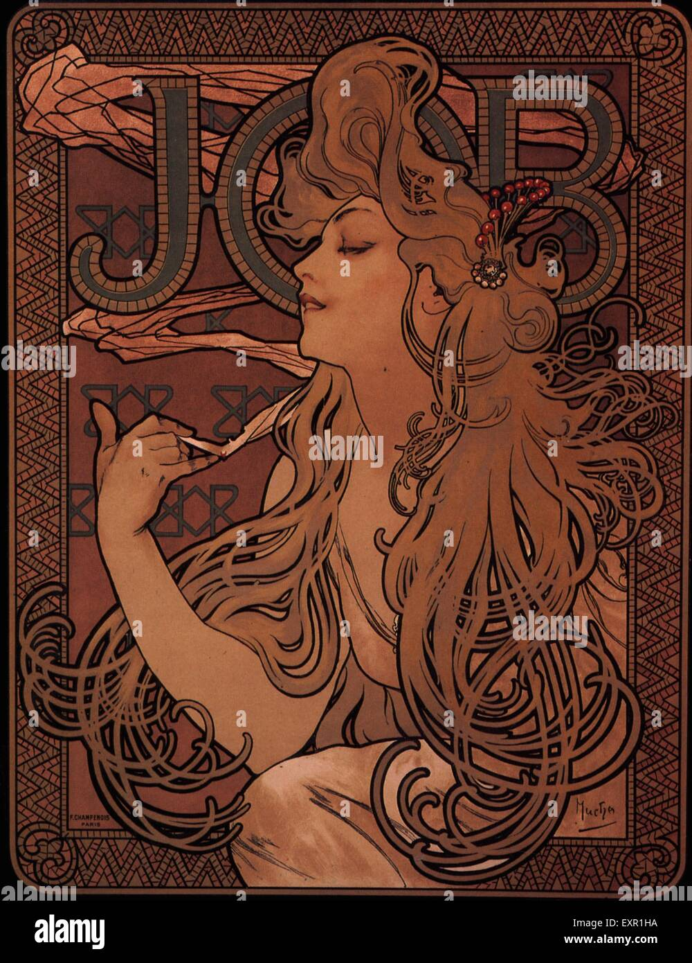 1890s Francia Mucha Poster Immagini Stock