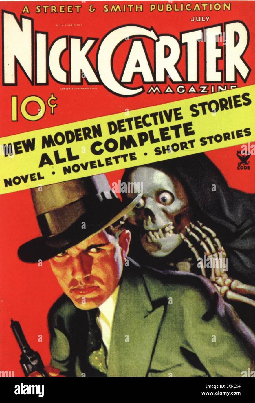 1940s USA Nick Carter Magazine Magazine Cover Immagini Stock