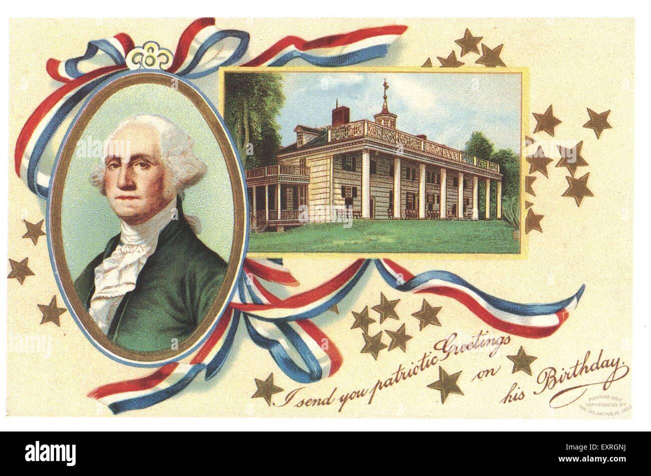 1900s STATI UNITI D'AMERICA George Washington scheda Messaggi di saluto Immagini Stock