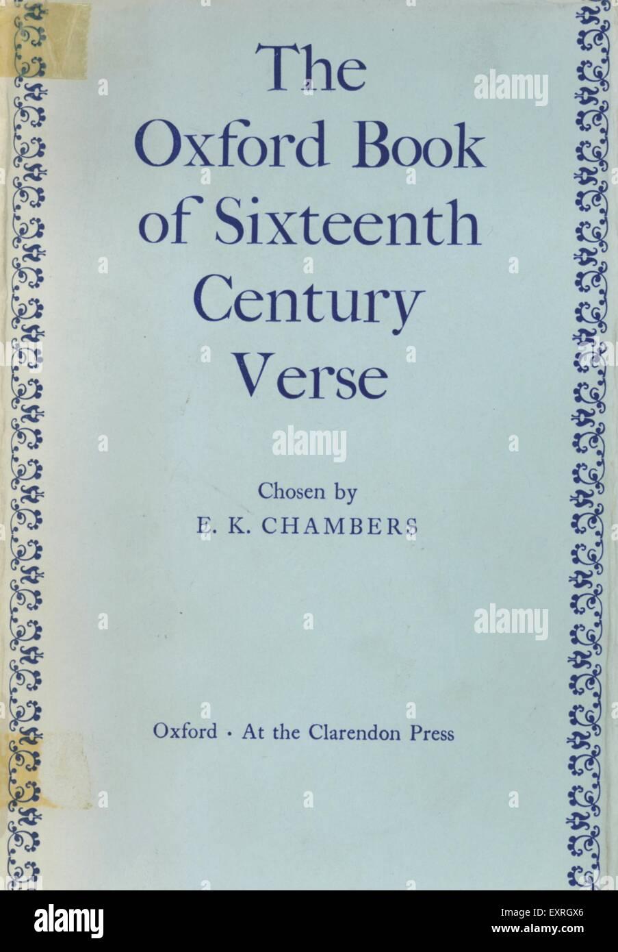 1960S UK Oxford libro del sedicesimo secolo versetto per la copertina del libro Immagini Stock