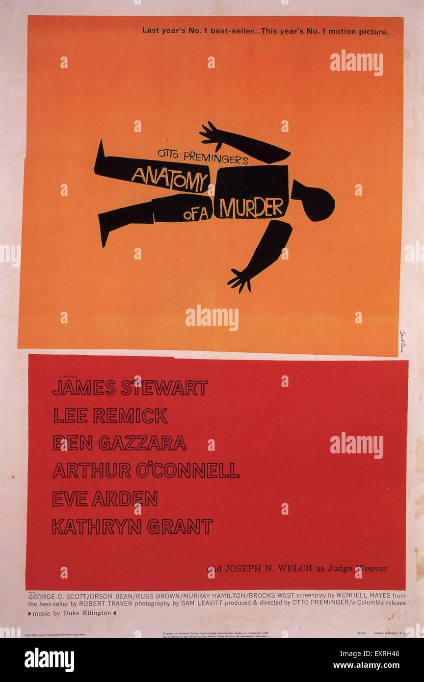 Anni Cinquanta USA Anatomia di un omicidio Film Poster Immagini Stock