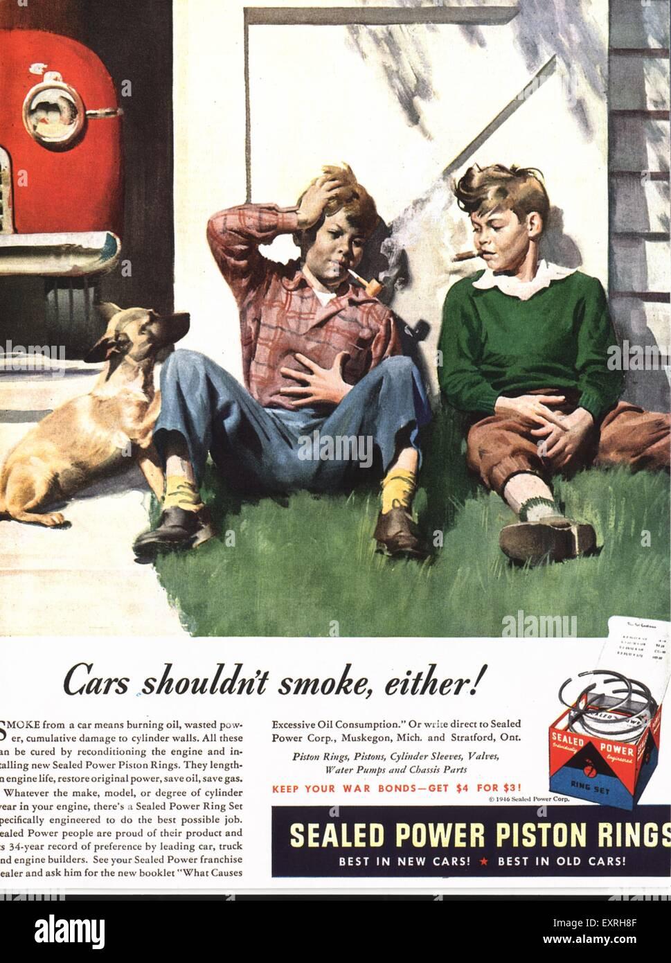 1940s usa alimentazione sigillata anelli pistone Magazine annuncio pubblicitario Immagini Stock