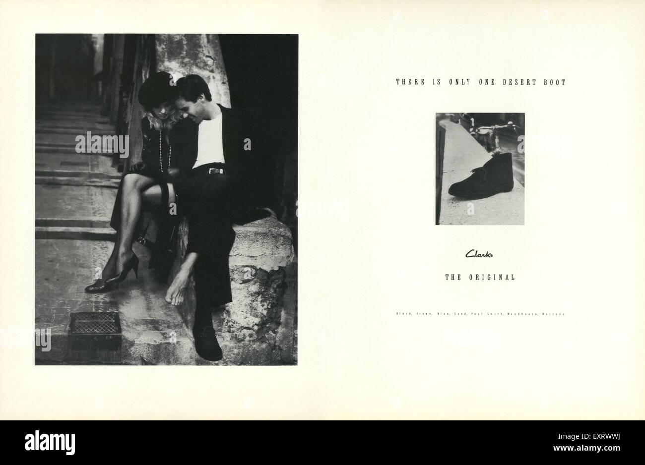 Anni ottanta UK Clarks Magazine annuncio pubblicitario Immagini Stock 5f2ebe434fe