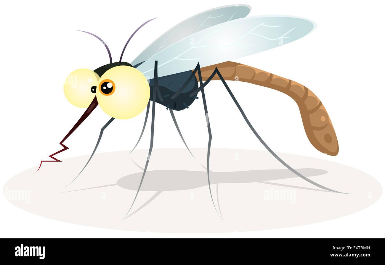 Illustrazione di un divertente cartoon assetati di zanzara di