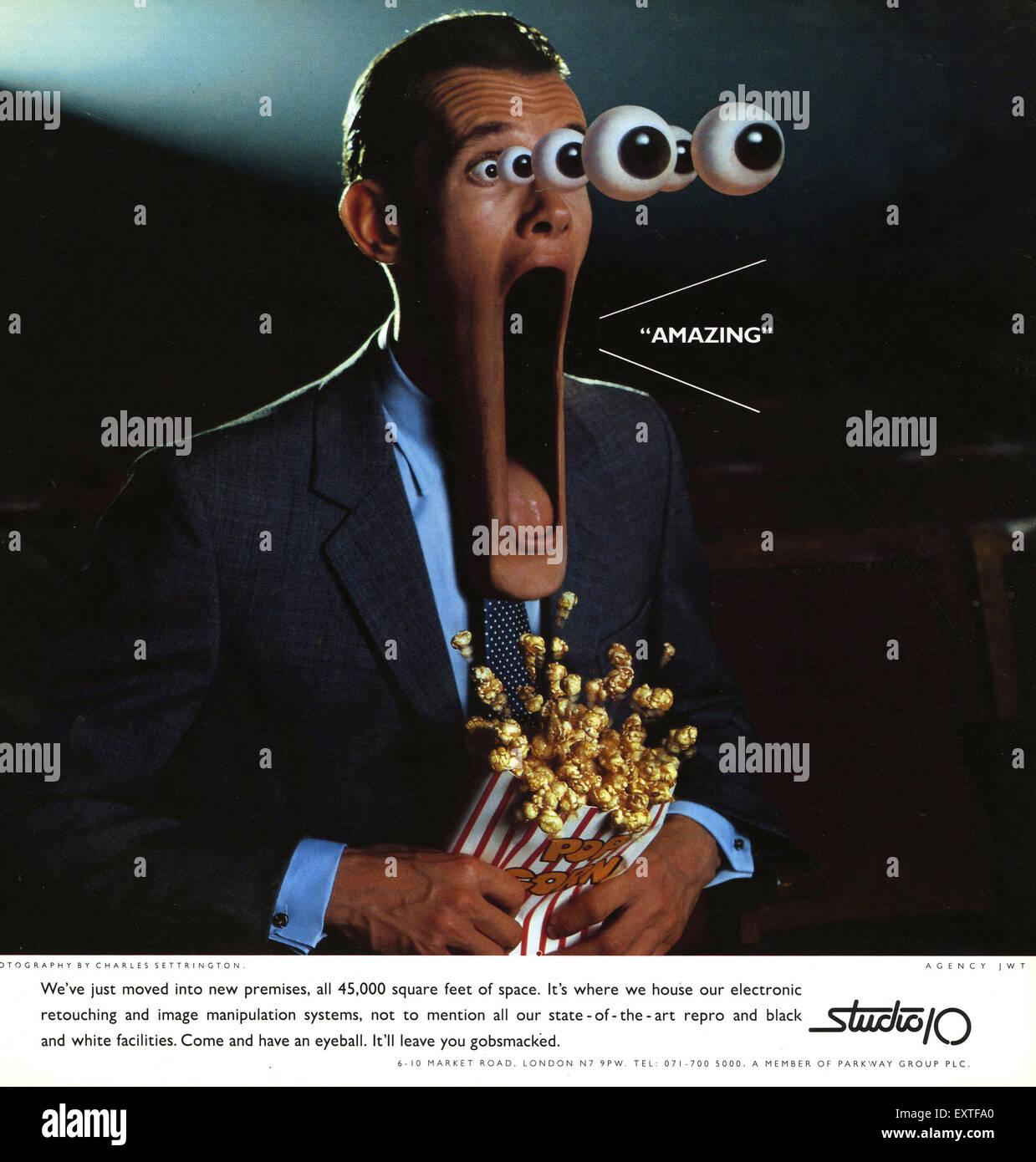 Anni Novanta Studio britannico 10 Magazine annuncio pubblicitario Immagini Stock