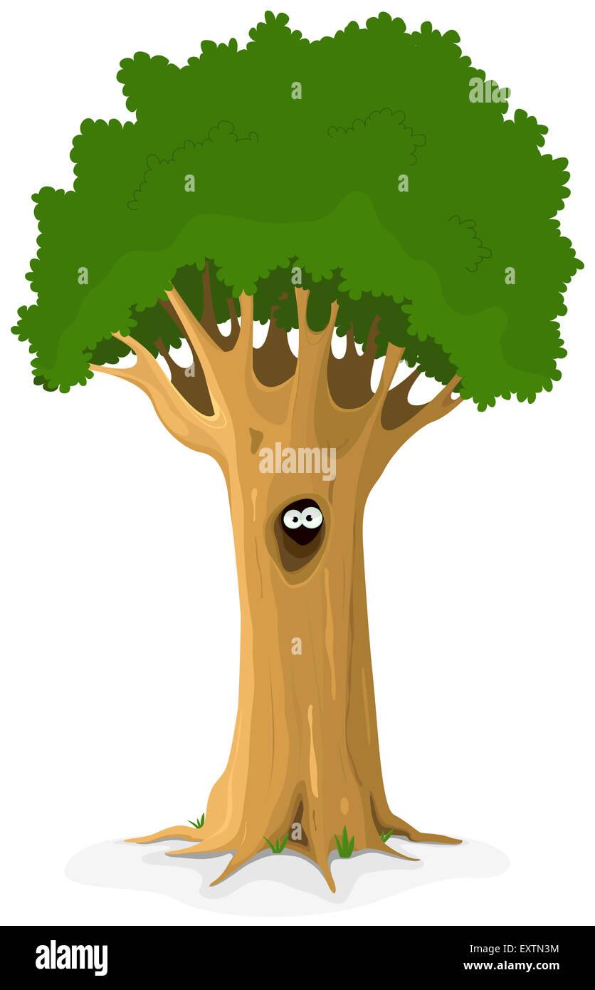Illustrazione di un cartone animato grande albero di quercia con