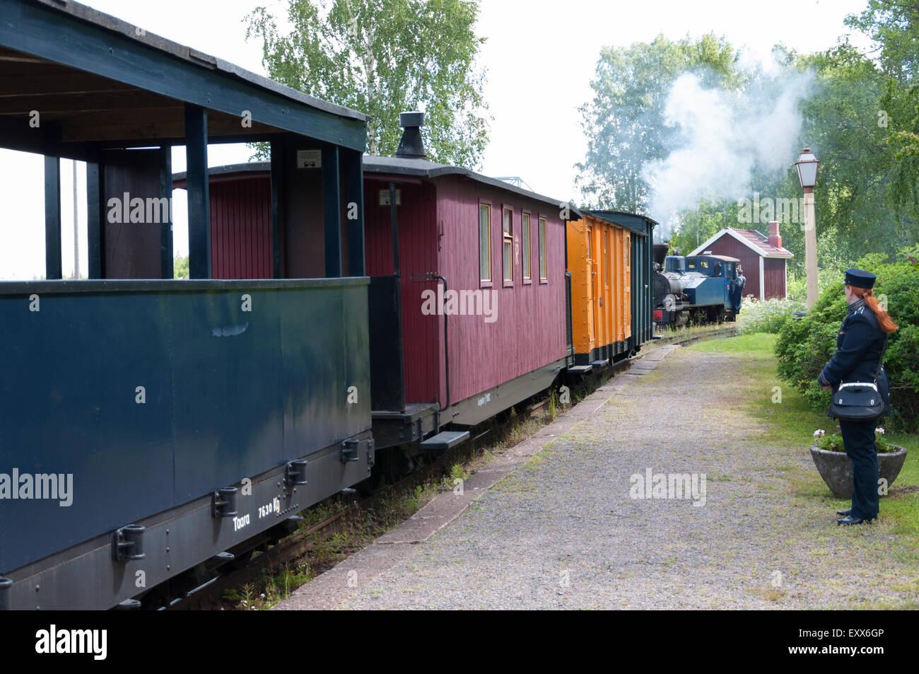 Il finlandese strette gage treno a vapore Immagini Stock
