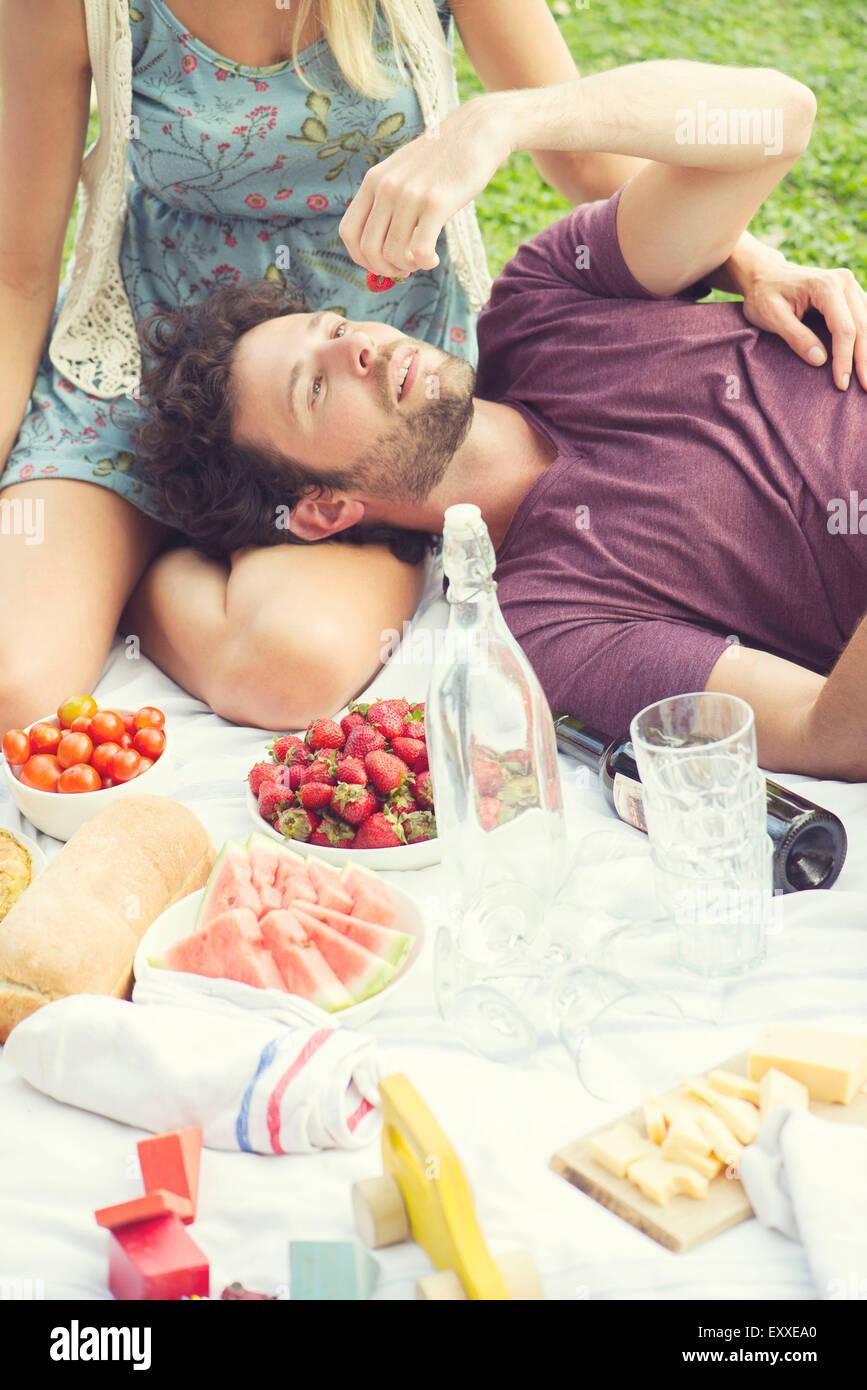 L'uomo godendo un picnic con accompagnatore Immagini Stock