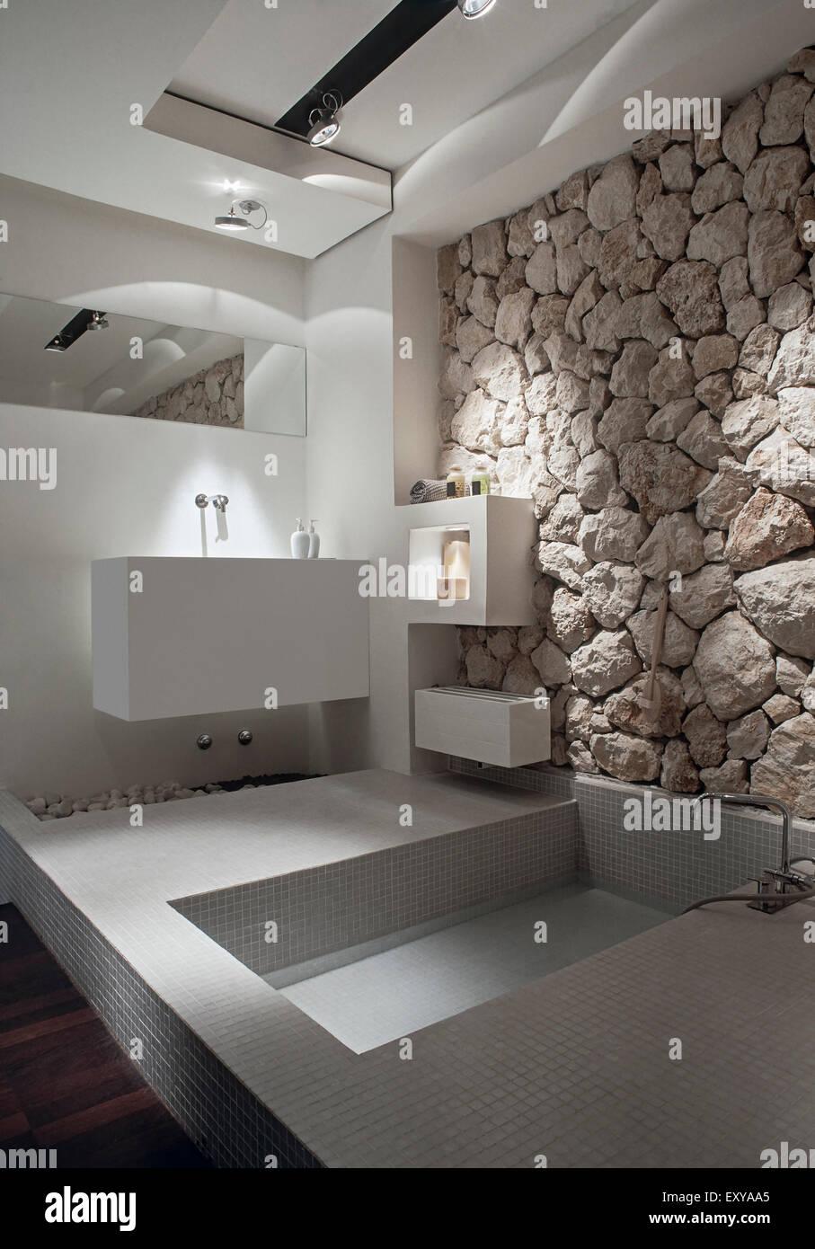 Primo piano della vasca da bagno che si affaccia sul lavandino in un bagno moderno la cui parete for Vasca da bagno in inglese