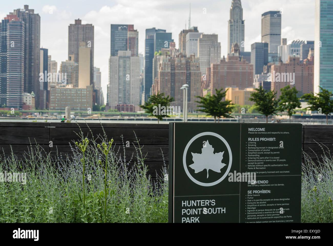 New York City, NY, STATI UNITI D'AMERICA, segno per il cacciatore punto, South Park, il quartiere di Brooklyn, Immagini Stock