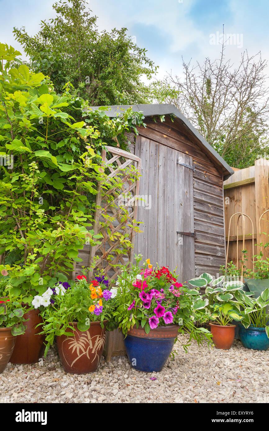Vasi Da Giardino Colorati tettoia da giardino circondato da colorati vasi di piante e