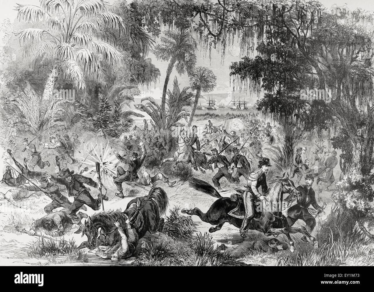 Ritiro del Presidio federale, comandato dal generale Drayton, da Fort Walker per Benton, durante il bombardamento Immagini Stock