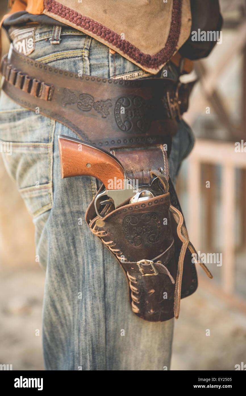 Tagliato in prossimità della fondina cowboy sul selvaggio west set cinematografico, Fort Bravo, Tabernas, Almeria, Foto Stock
