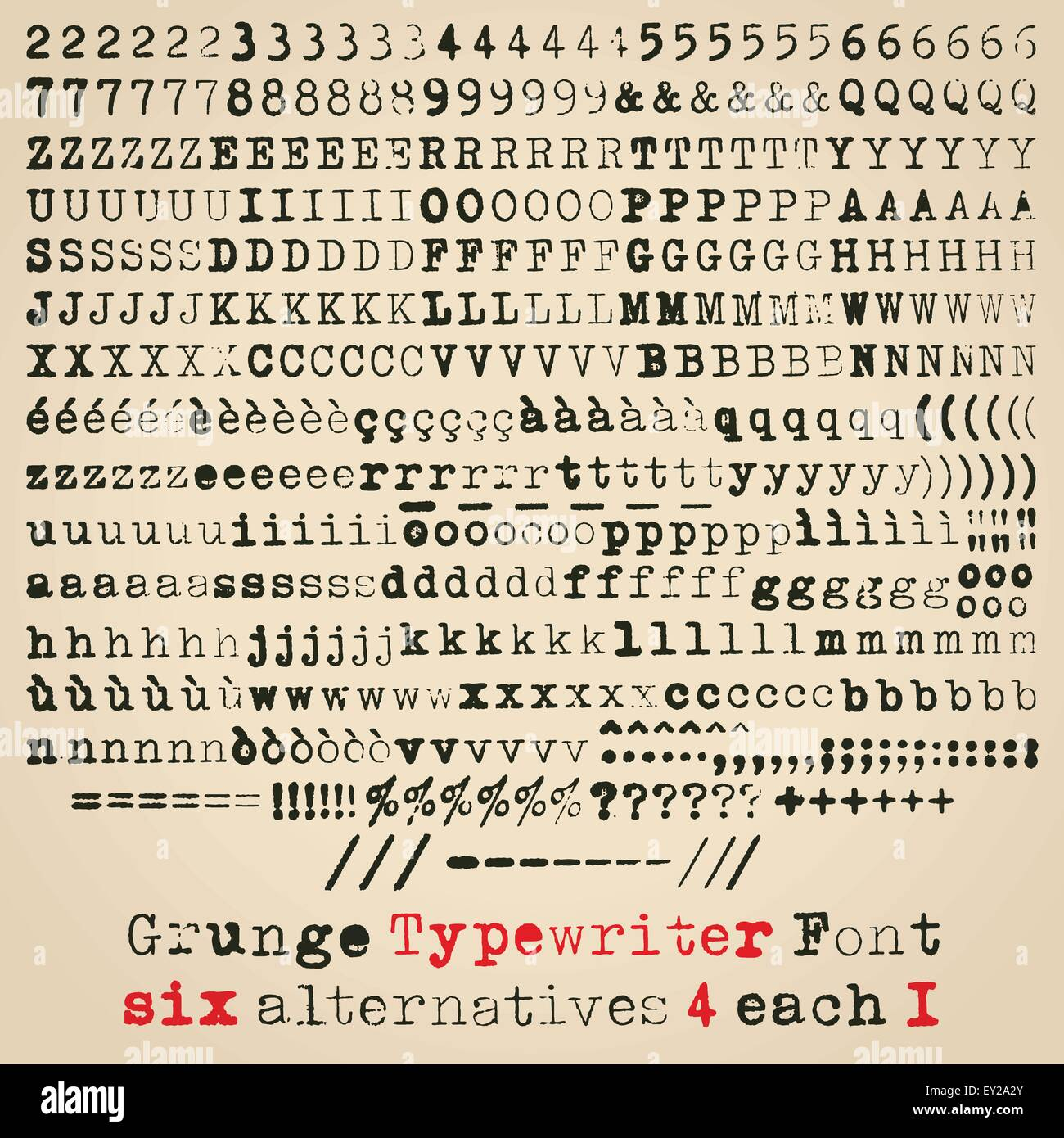 Macchina da scrivere grunge font. Sei alternative per ogni glifo Immagini Stock