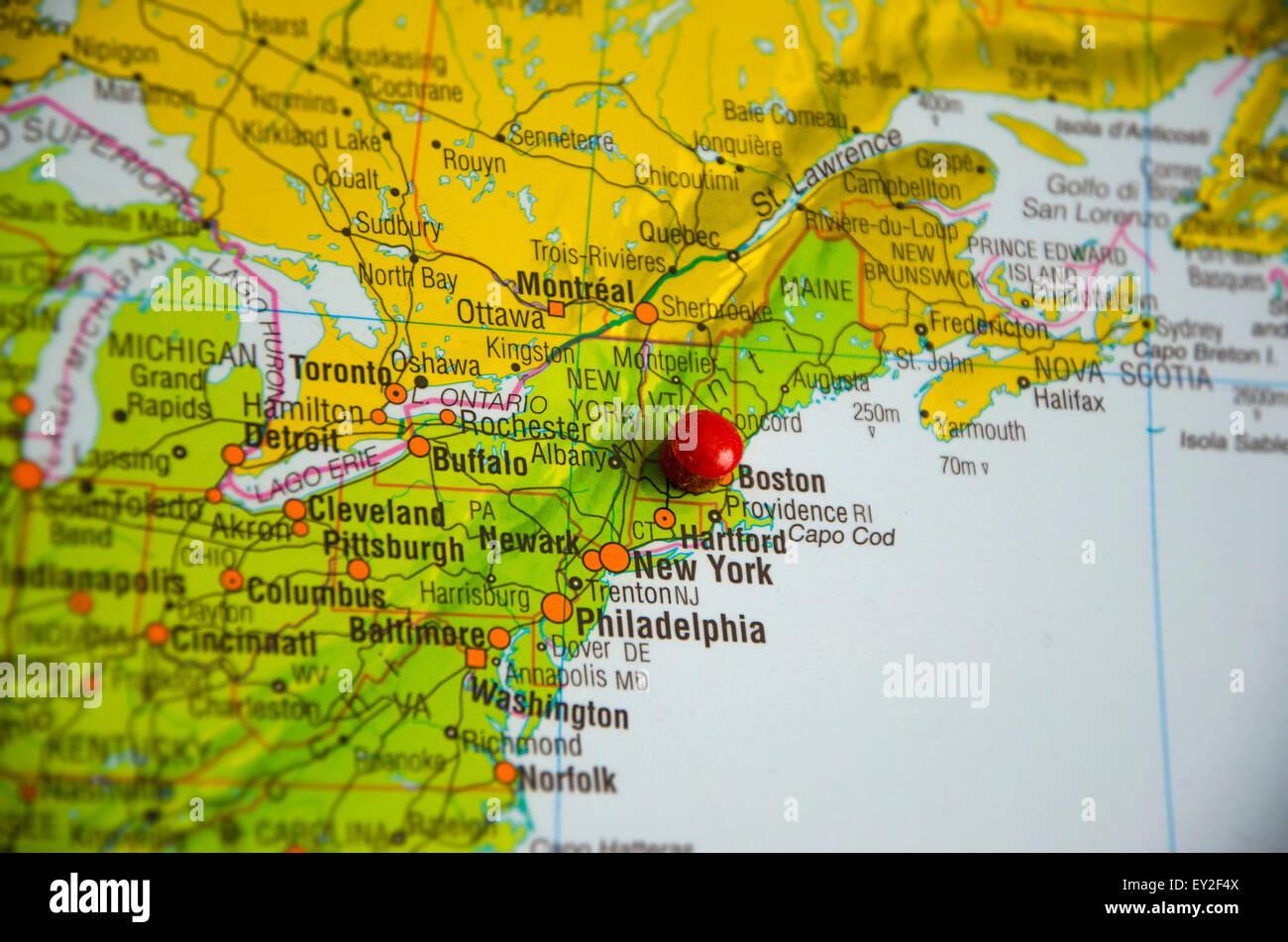 Boston Cartina Stati Uniti.Segnaposto Della Citta Di Boston Nella Mappa Degli Stati Uniti Costa Est Mappa Foto Stock Alamy