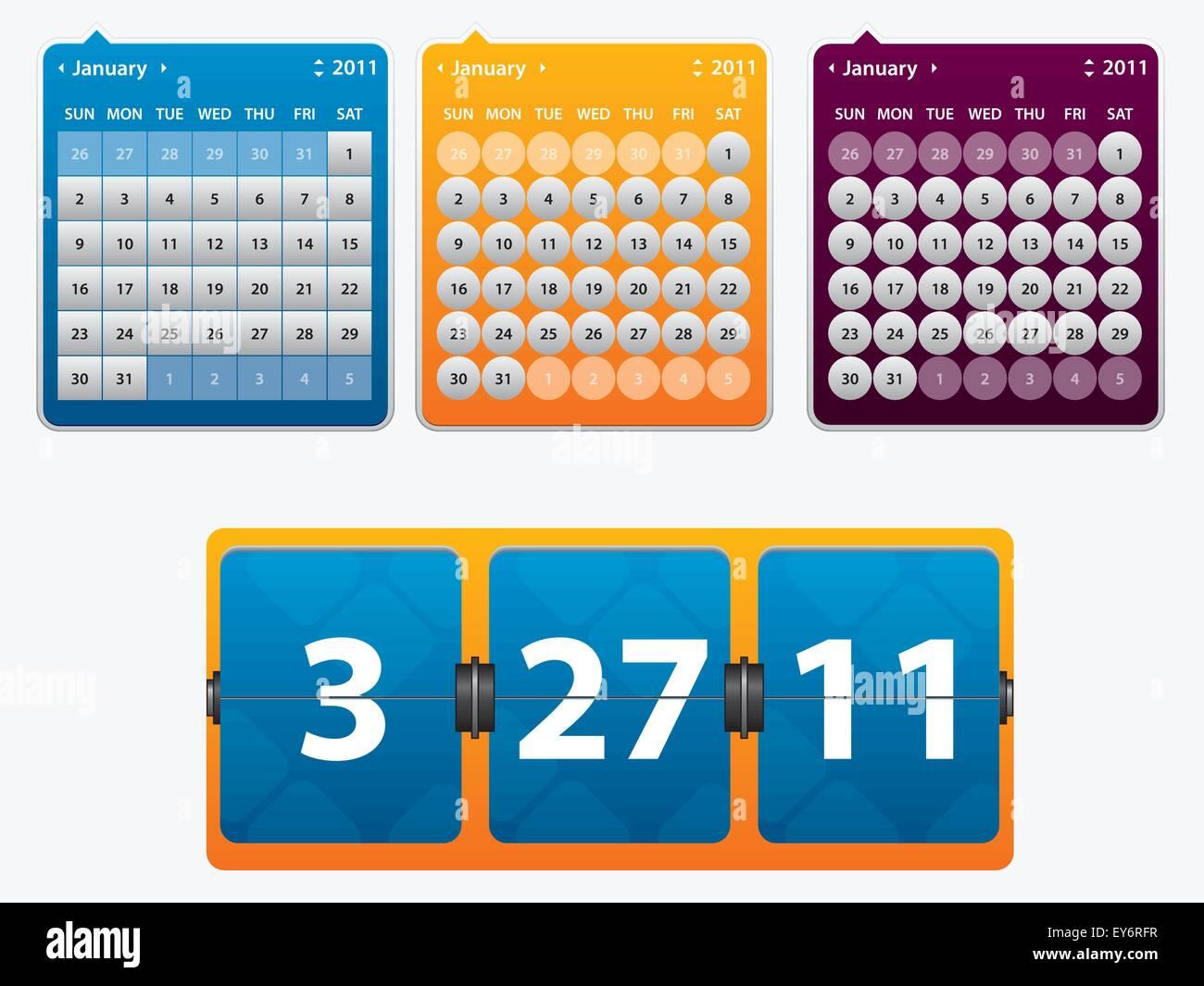 Calendario Per Sito Web.Illustrazione Del Calendario E Scheda Con Data Dell Anno Per