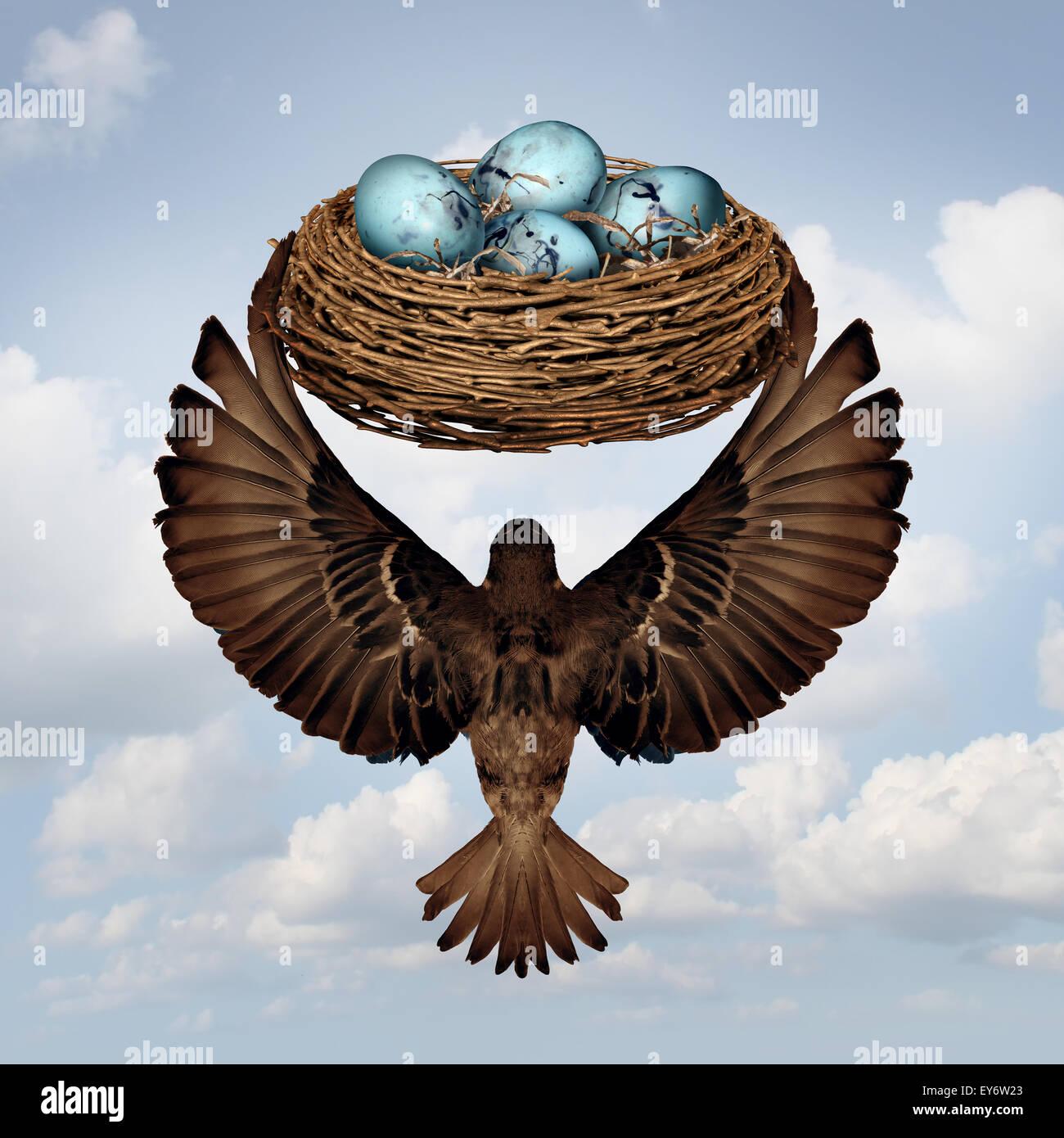 Home concetto in movimento e il riposizionamento immobiliare di metafora come una madre o padre uccello genitore Immagini Stock