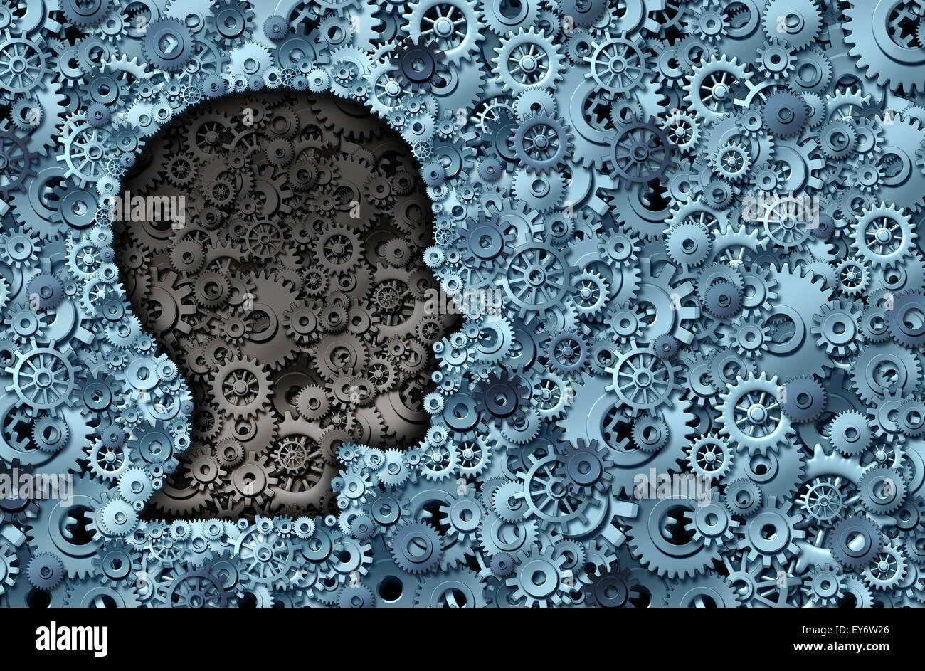 Macchina di intelligence e il cervello umano come un modo di pensare la tecnologia della macchina o di neurologia simbolo medico con una testa forma resa dei denti degli ingranaggi e che rappresenta la strategia psicologica e mentale attività neurologiche. Foto Stock