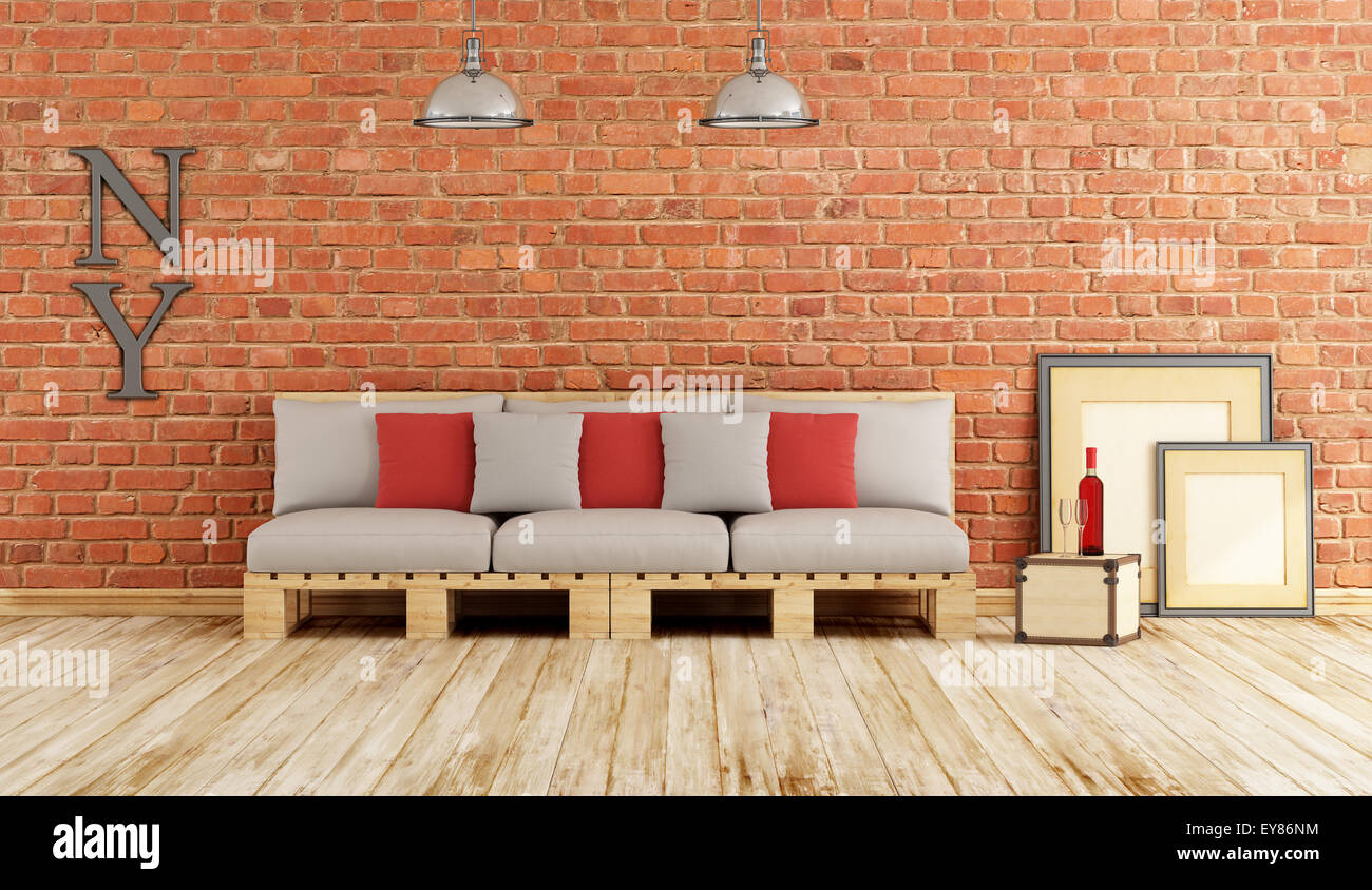White brick wall wooden floor immagini white brick wall wooden floor fotos stock alamy - Soggiorno con divano ...