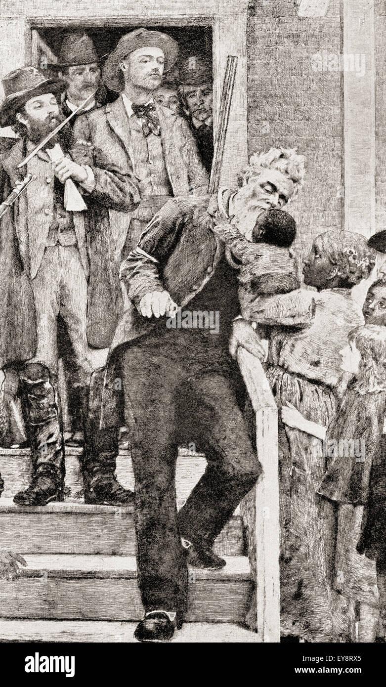 Gli ultimi momenti della John Brown prima di essere adottate per la sua esecuzione per impiccagione, 1859. John Brown , 1800 - 1859. Bianco abolizionista americano. Dopo un dipinto da Thomas Hovenden. Foto Stock