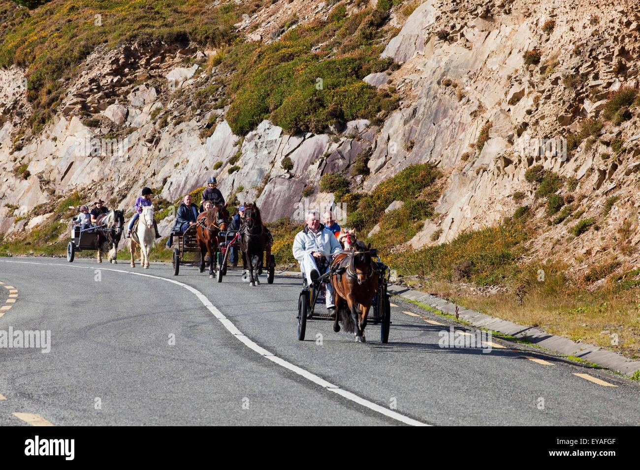 In sella ad una carrozza trainata da cavalli verso il basso una strada costiera, vicino a Dingle; Contea di Kerry, Immagini Stock