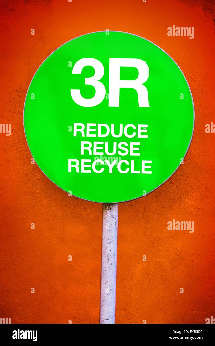 3R - Ridurre, riutilizzare e riciclare, Segno verde per l'Ecologia e Ambiente concetto a tema Immagini Stock