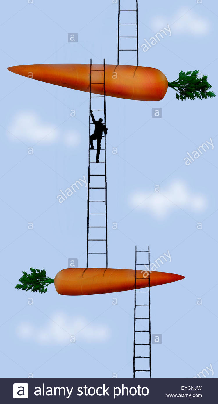 Imprenditore scale ascendente tra carote grandi Immagini Stock
