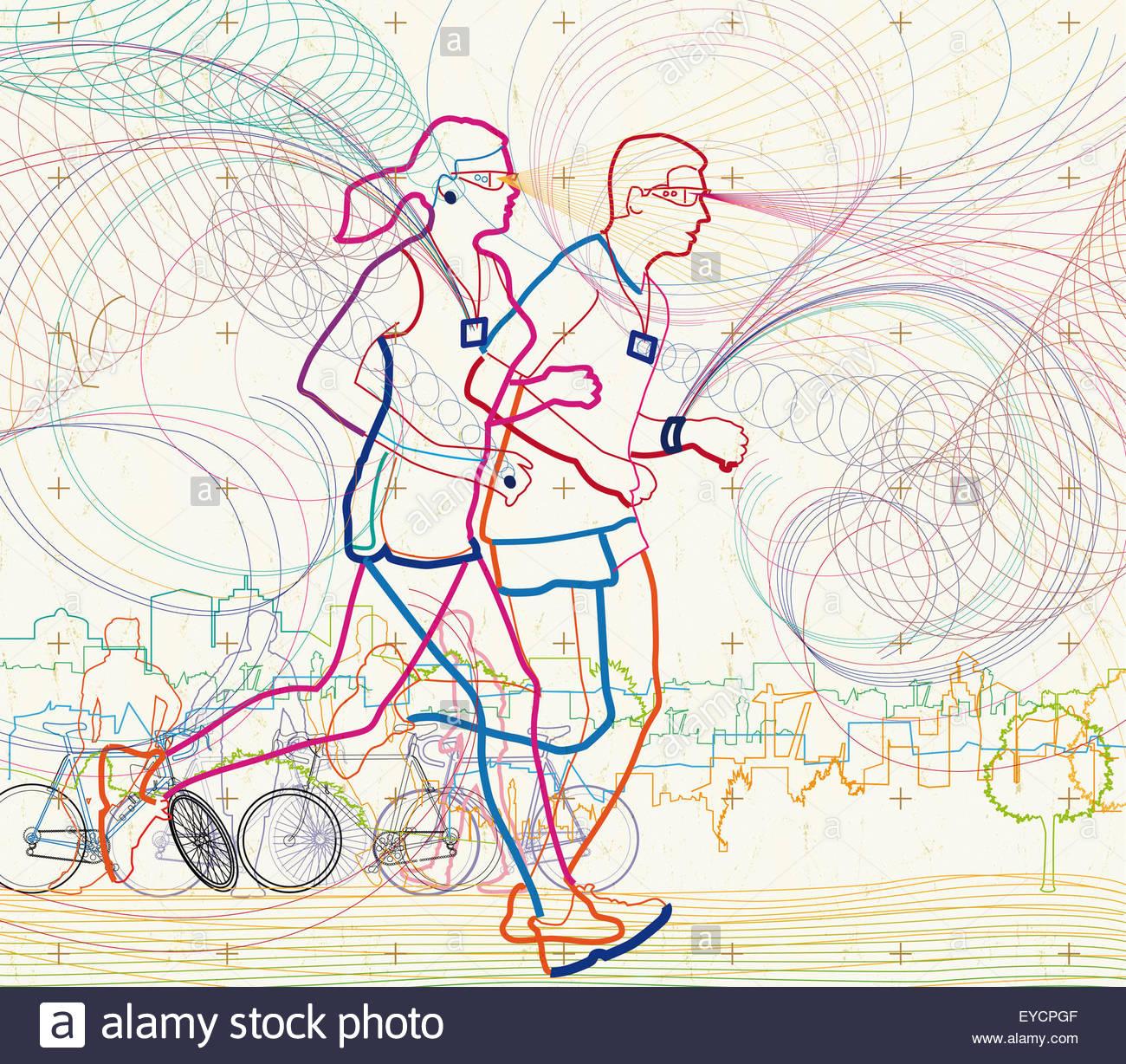 L uomo e la donna in esecuzione insieme in città utilizzando attività fitness tracker Immagini Stock