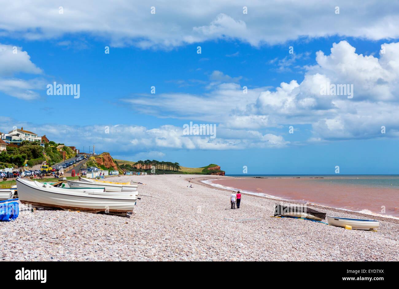 La spiaggia di ciottoli di Budleigh Salterton, Devon, Inghilterra, Regno Unito Immagini Stock