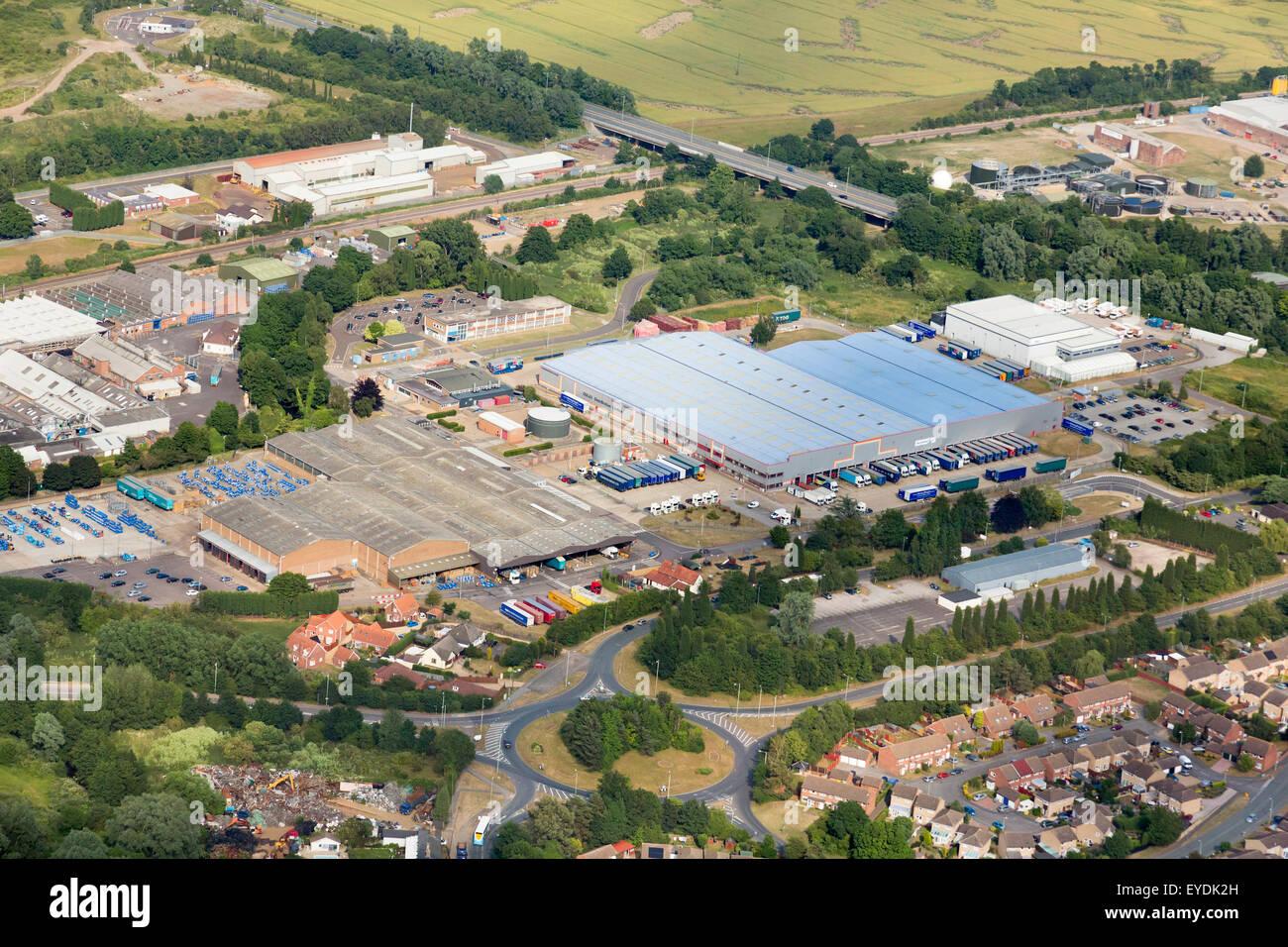 Foto aerea industrial estate in Stowmarket, Regno Unito Immagini Stock