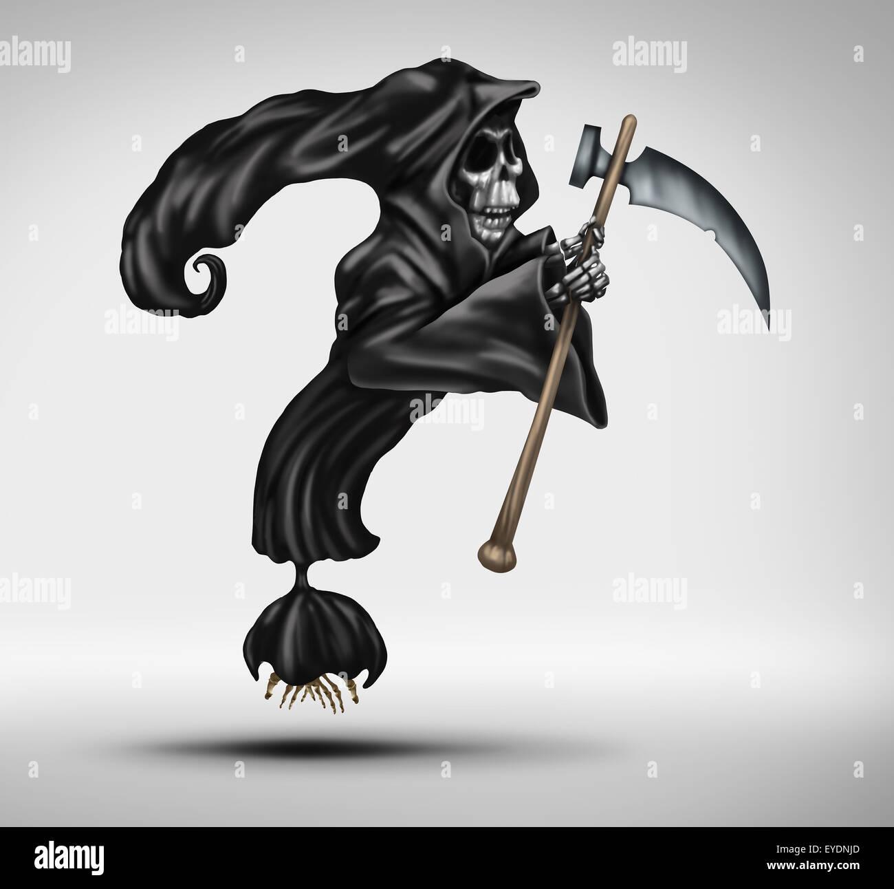 Domanda di mortalità come Grim Reaper o fantasma di morte a forma di caratteri come un punto interrogativo Immagini Stock