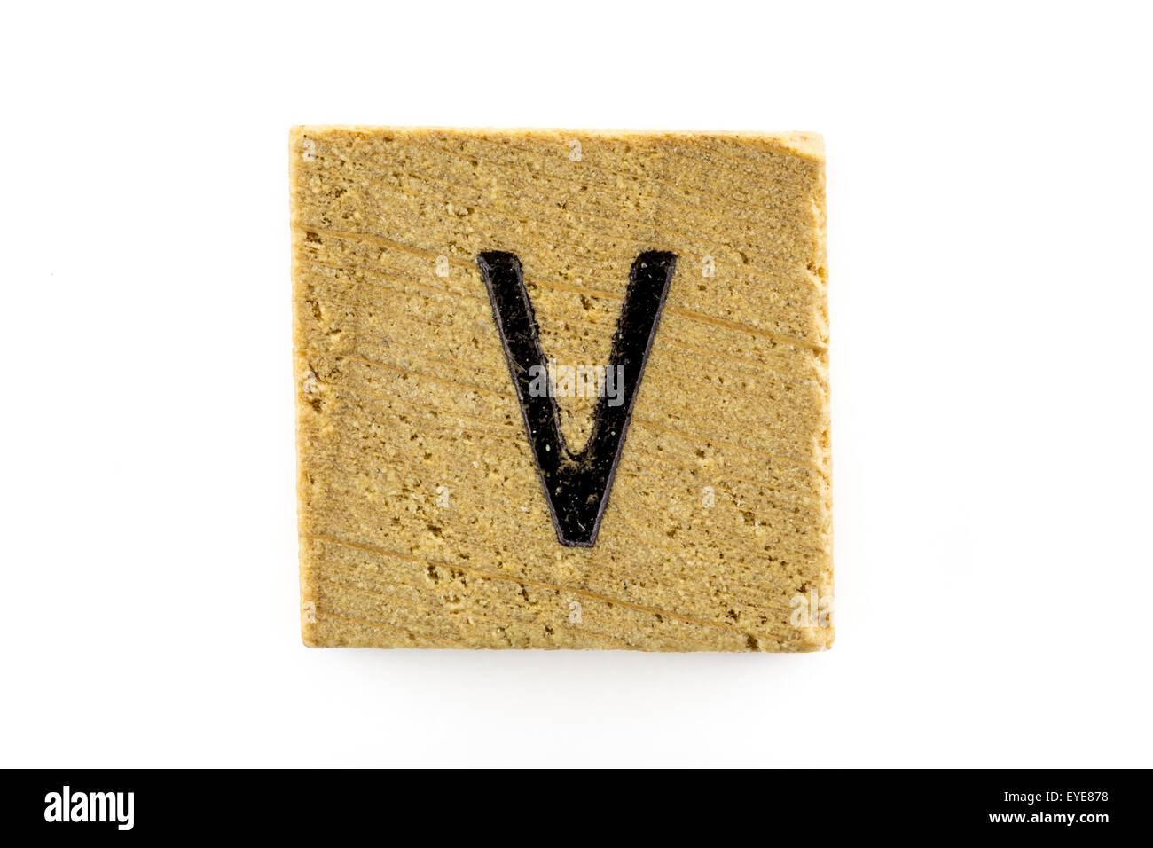 Alfabeto di legno blocchi con lettere v isolato foto immagine
