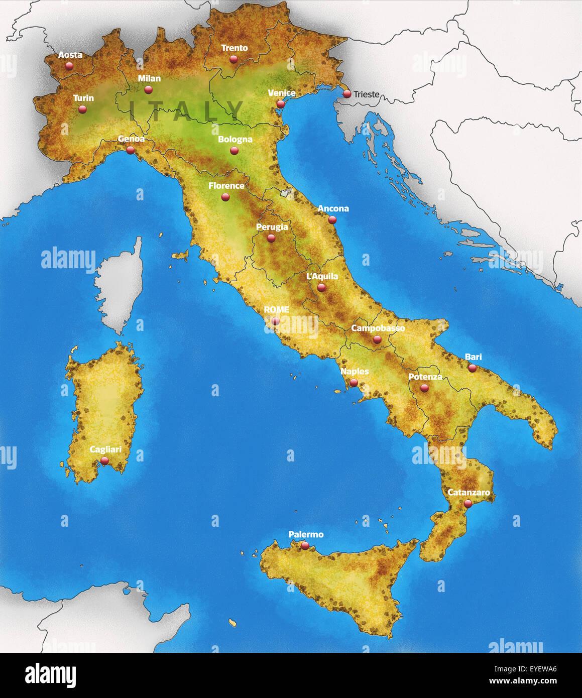 Cartina Dell Italia Fisica.Cartina Fisica Dell Italia Illustrazione Foto Stock Alamy