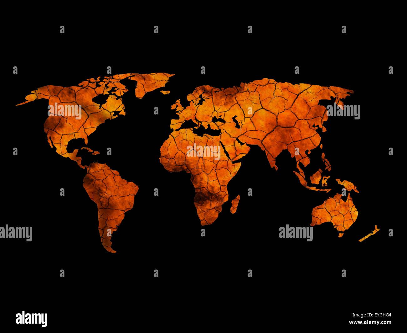 È incrinata e terra bruciata mappa del mondo. Immagini Stock