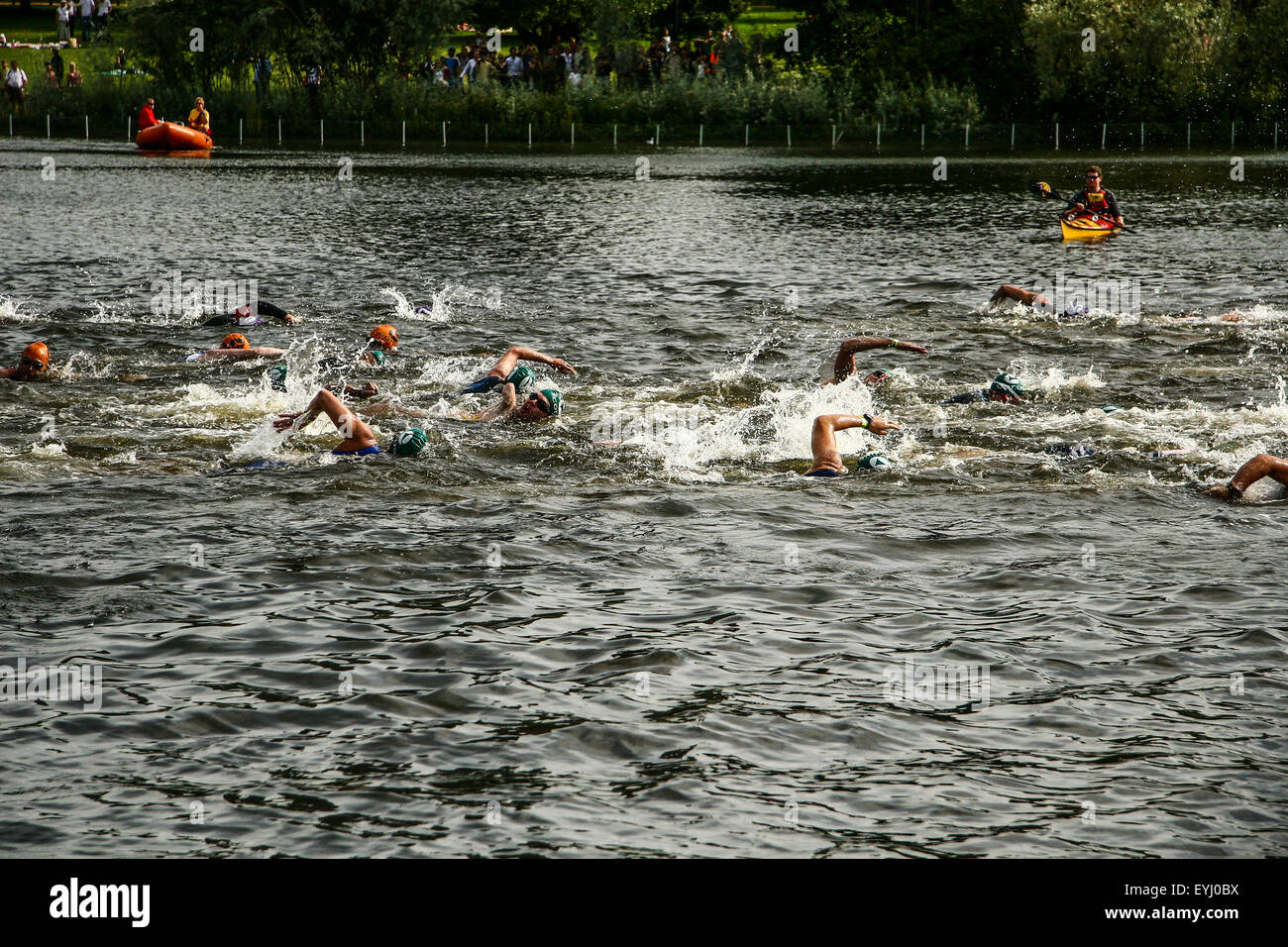 Destrogira Energy Triathlon - ITU World Championship Series di Londra- Paratriathlon Immagini Stock