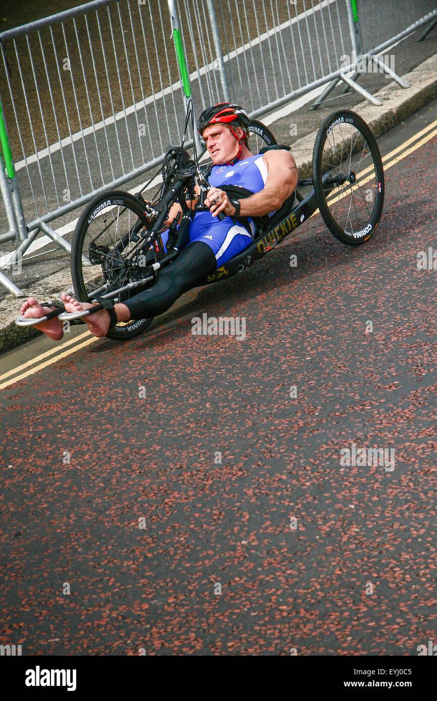 Destrogira Energy Triathlon - ITU World Championship Series di Londra- Paratriathlon escursioni in bicicletta. Immagini Stock