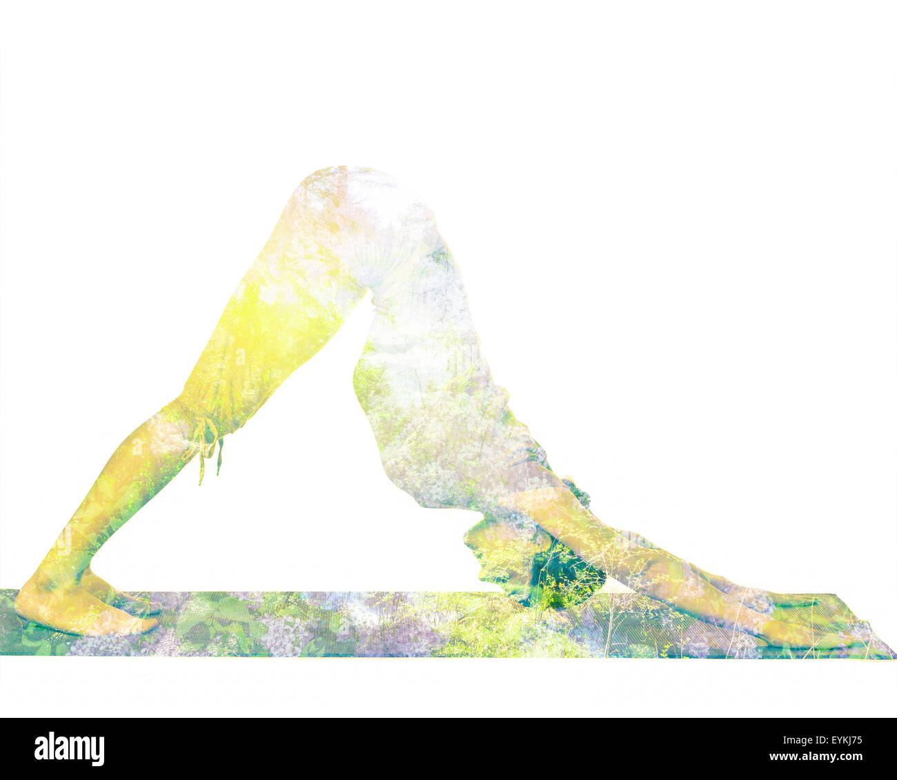Natura armonia uno stile di vita sano concetto - doppia esposizione immagine della donna fare yoga asana cane con Immagini Stock
