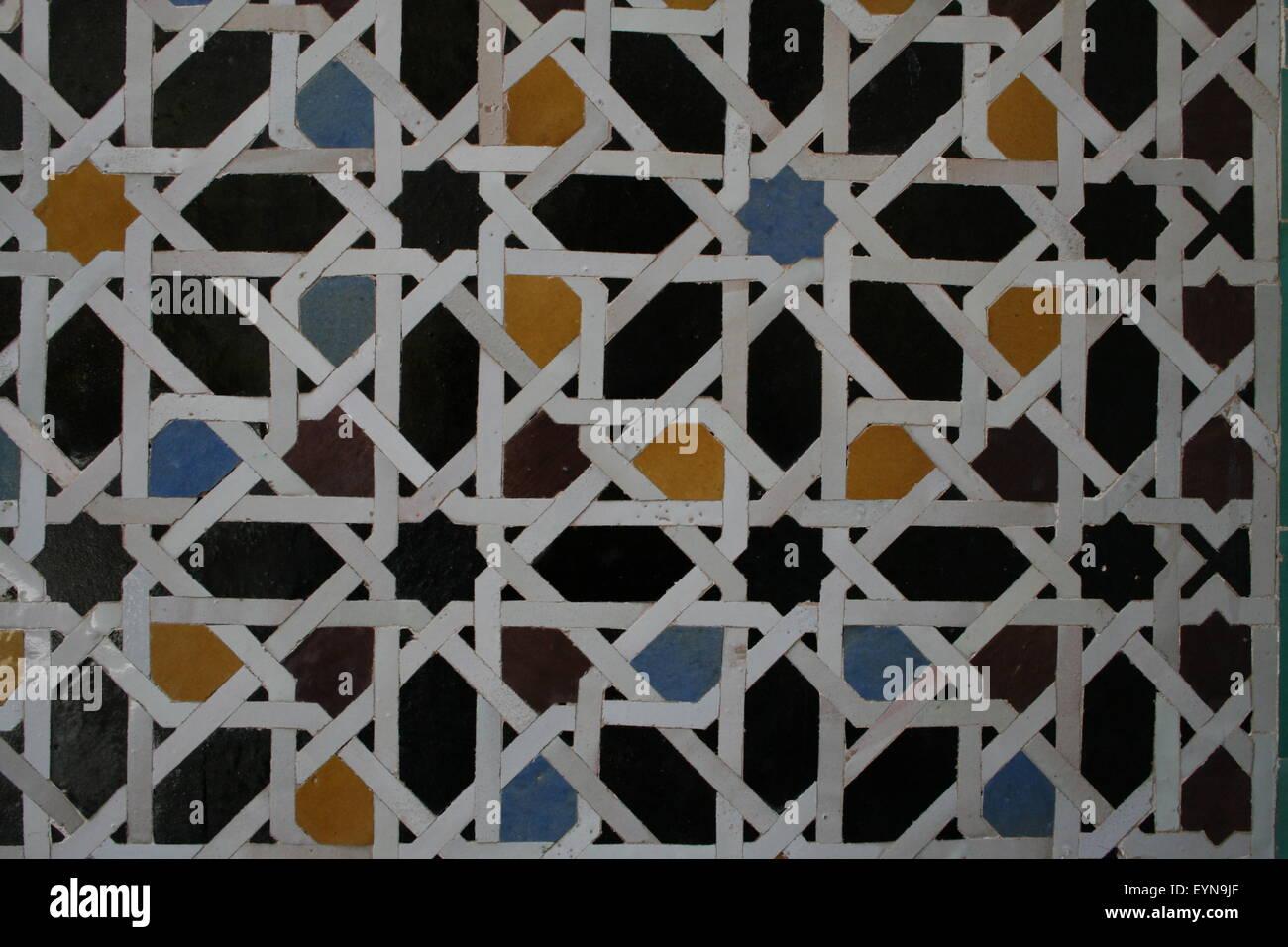 Islamic disegno geometrico in architettura del Marocco Immagini Stock