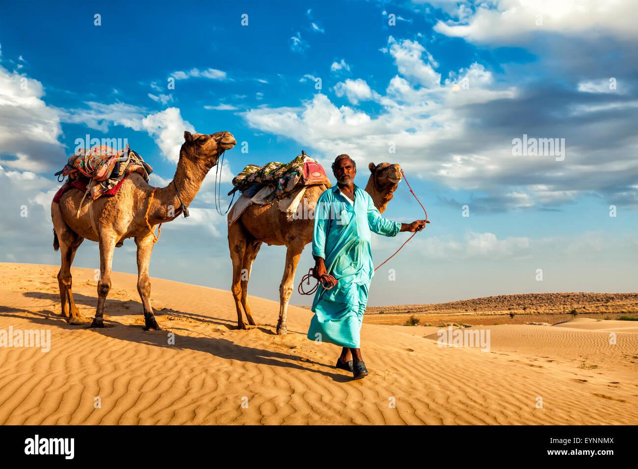 Cameleer camel driver con i cammelli nel dune del deserto di Thar Immagini Stock