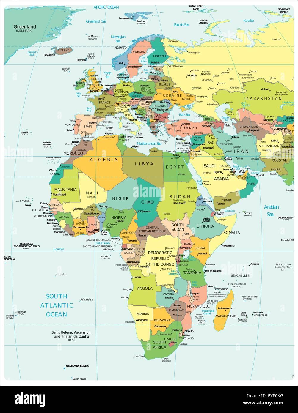 Cartina Geografica Europa E Africa.Europa Africa Carta Politica Illustrazione Vettoriale 85920676