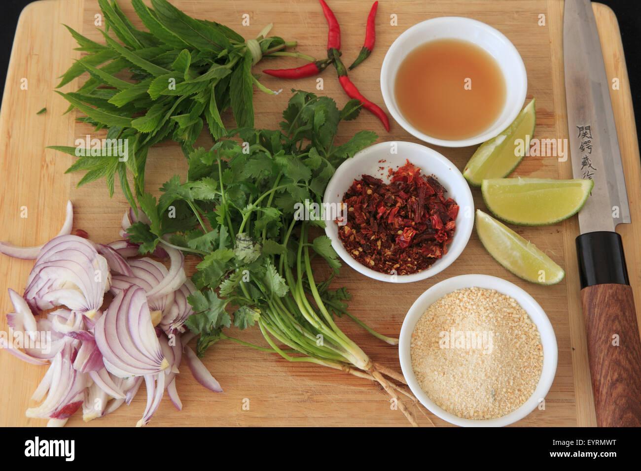 Cibo laotiano, larb, ingredienti, condimento, erbe aromatiche, spezie, Immagini Stock