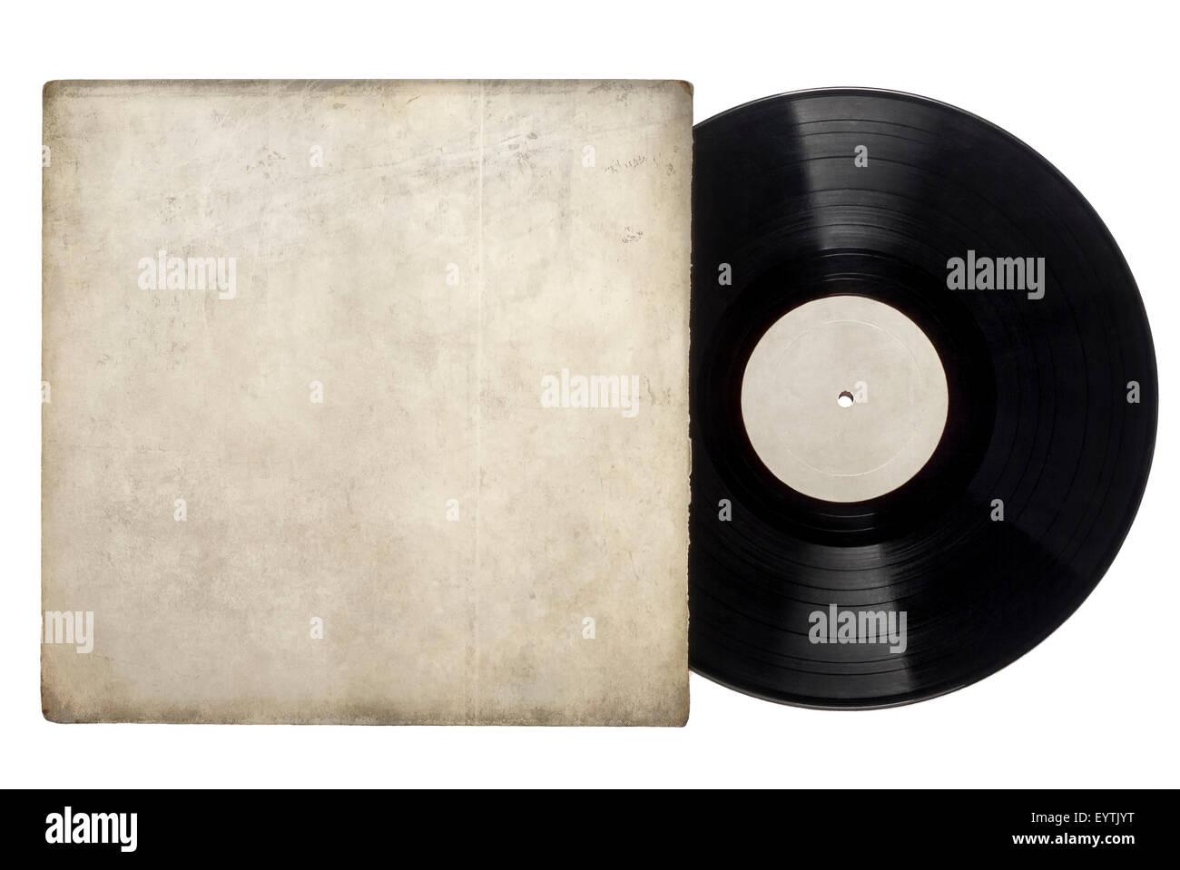Dischi in Vinile album con grungy il manicotto bianco con copia spazio su uno sfondo bianco. Foto Stock