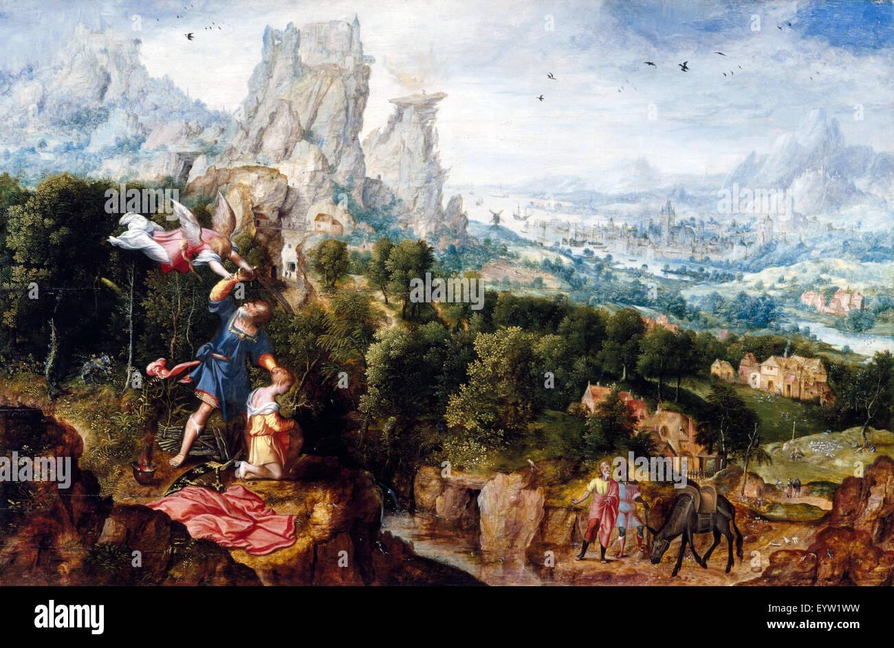 Herri met de Bles paesaggio, con il sacrificio di Isacco 1535-1545 Olio su pannello. Art Museum di Cincinnati, Ohio, Immagini Stock